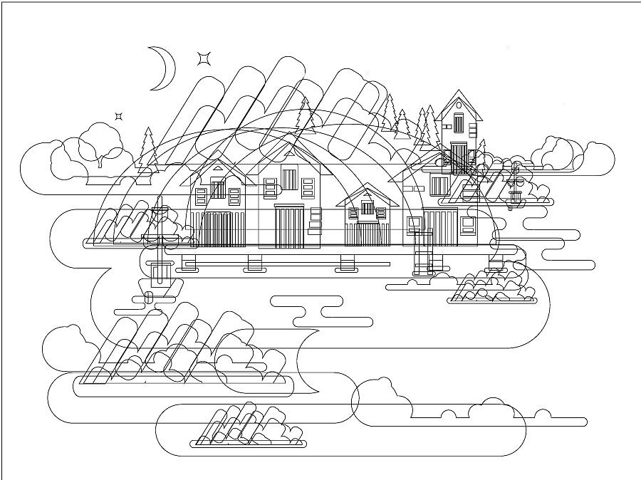 工程图 简笔画 平面图 手绘 线稿 900_674