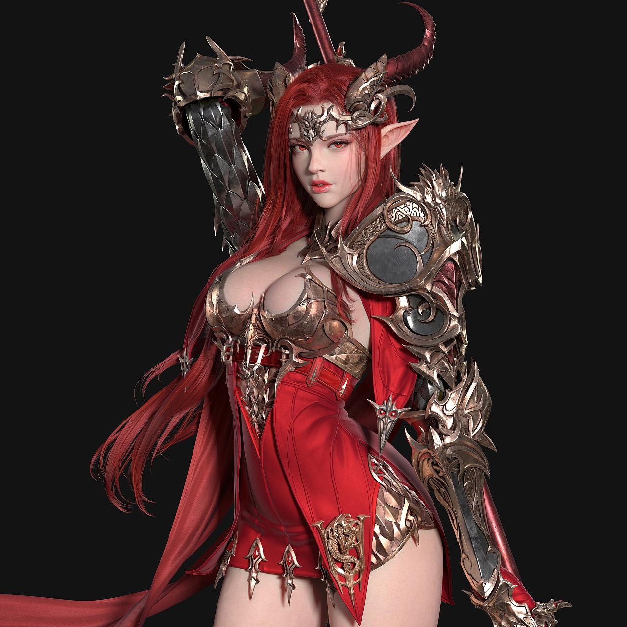 of dragon 龙女神这个作品,  我用maya来制作整体装备,xgen来制作头发图片