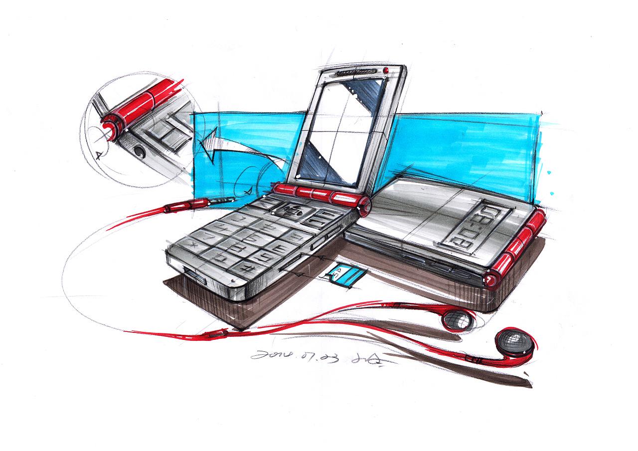 手机 产品设计手绘上色