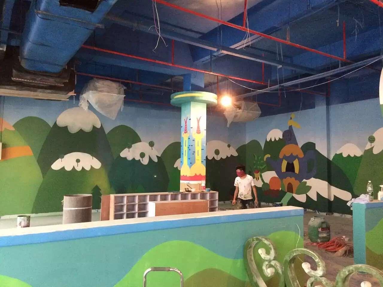 万达影城 游乐场 彩绘墙画