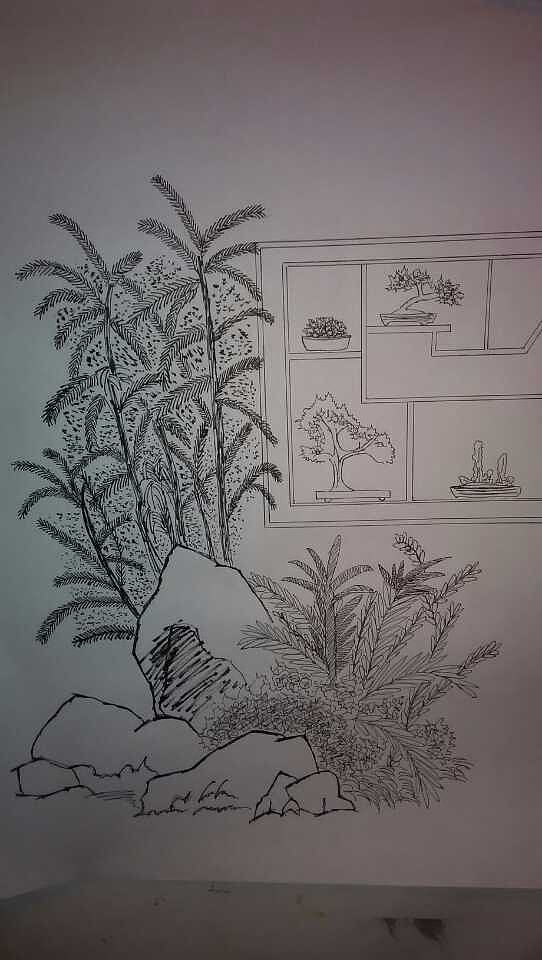 室外人物手绘线稿