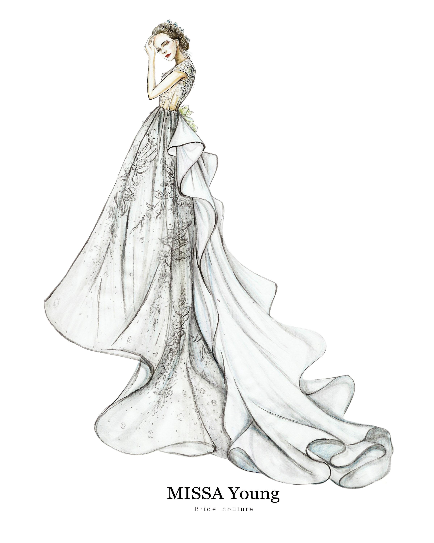 婚纱手绘稿《白皇后的新衣》