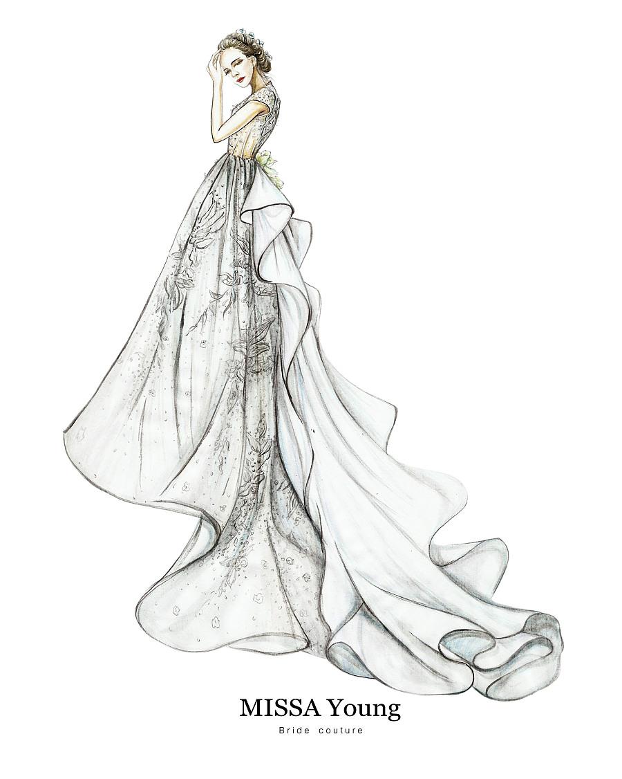 蕾丝手绘婚纱设计图