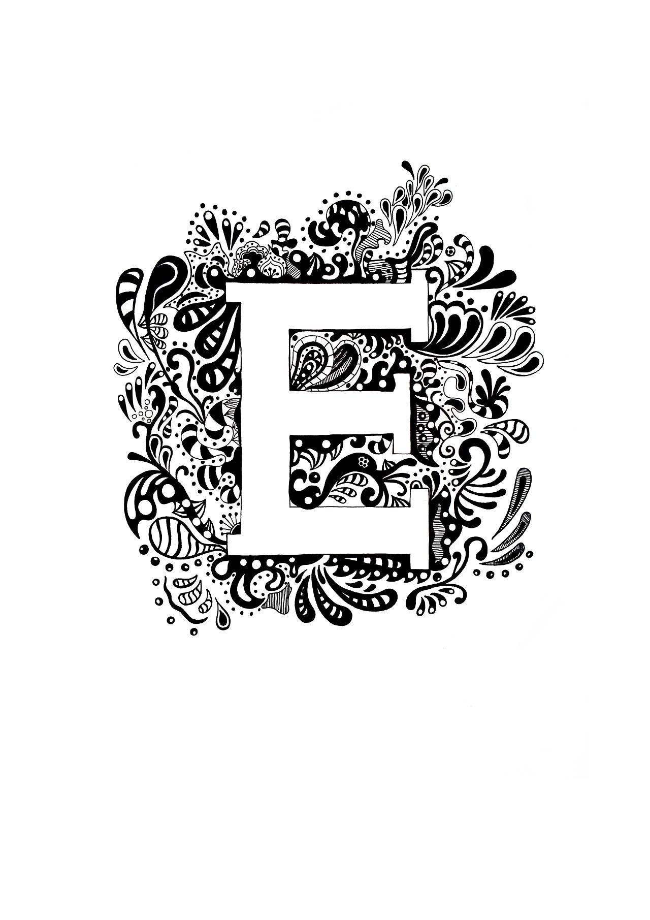 手绘字母插画