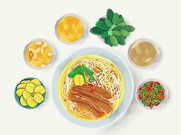 越南米粉插画