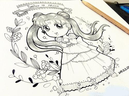 本子上手绘图|单幅漫画|动漫|猫头丸子