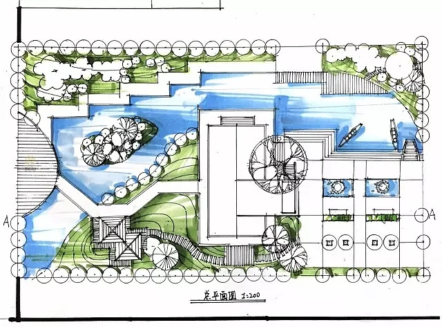景观手绘效果图上色步骤:江南水乡庭院景观  四.