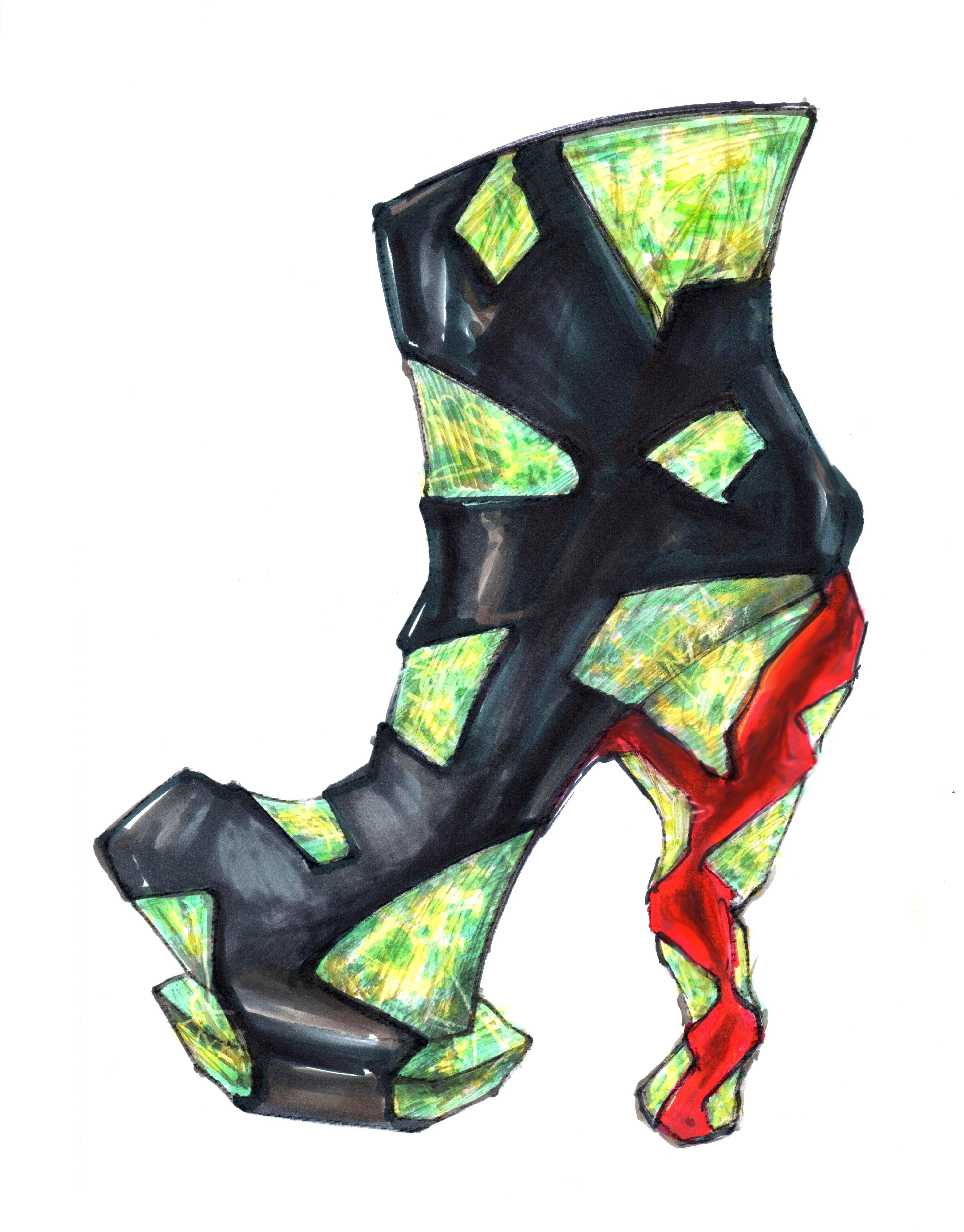 手绘鞋履效果图 服装 鞋类 sooooolo - 原创作品