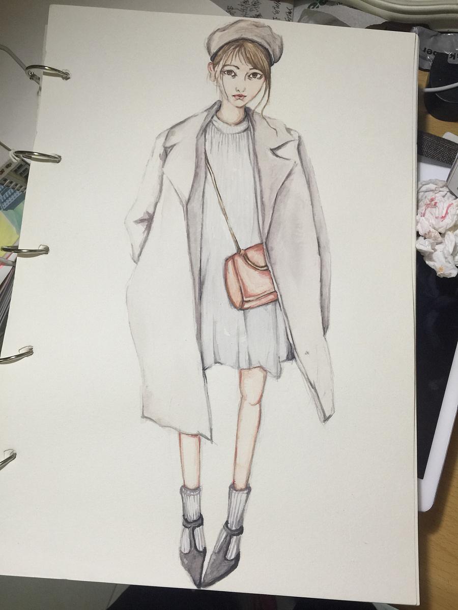 手绘时装画作业纪录少女模特:arashi杂志:vivi