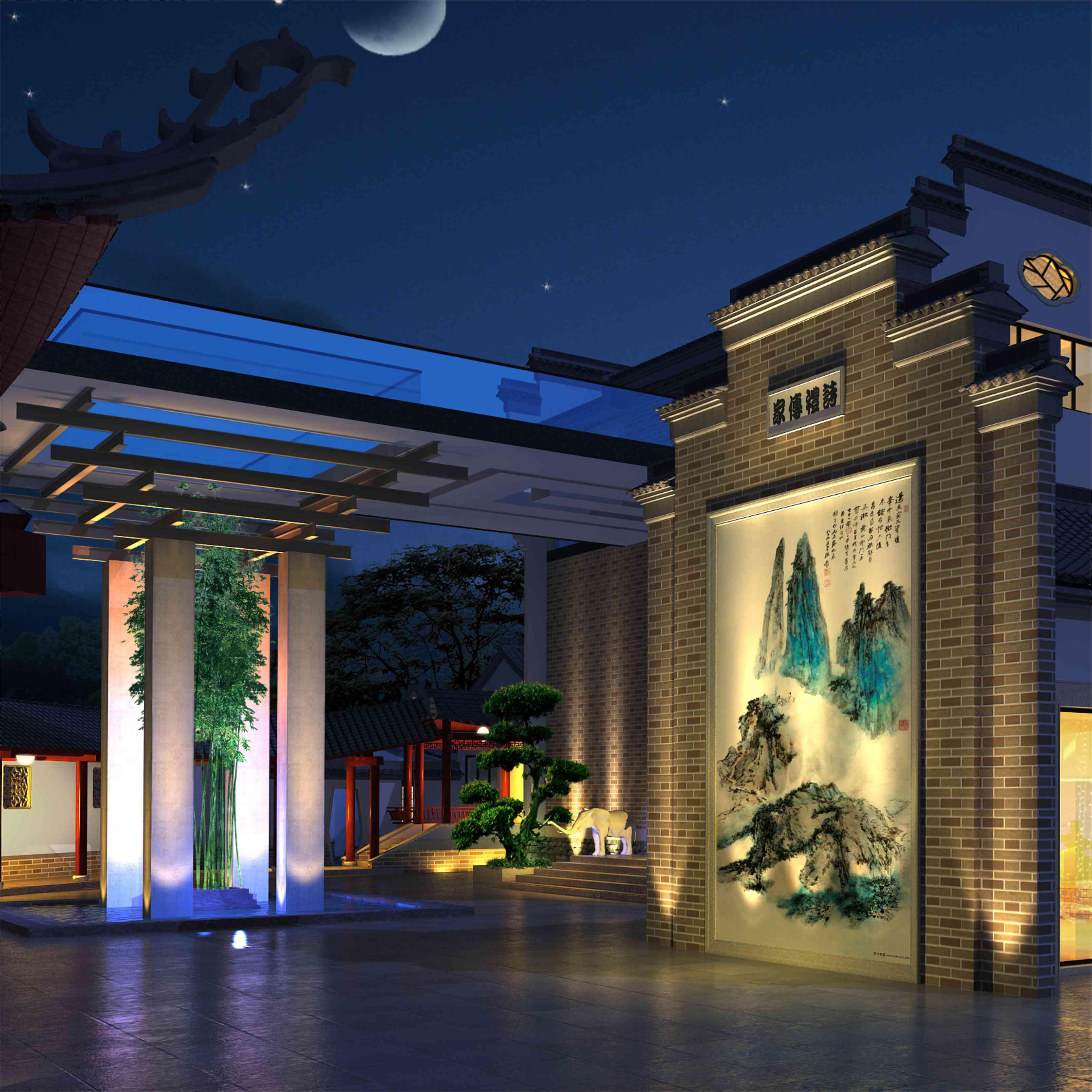 中式设计案例004:和园 新中式园林【 一心设计组】图片