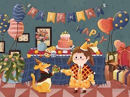 生日party | 儿童插画大场景
