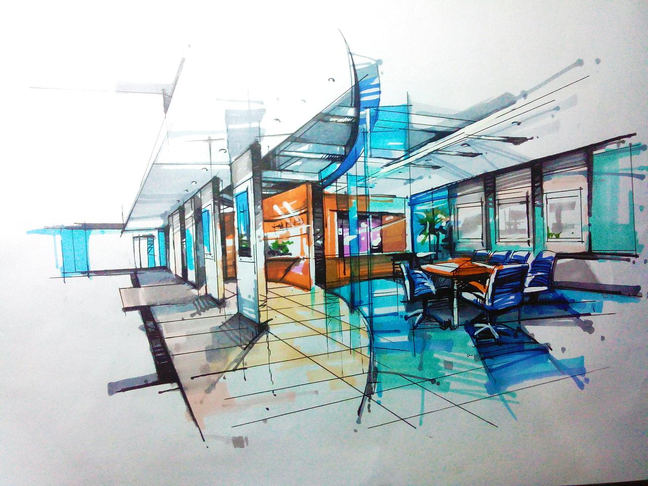手绘办公室室效果图马克笔