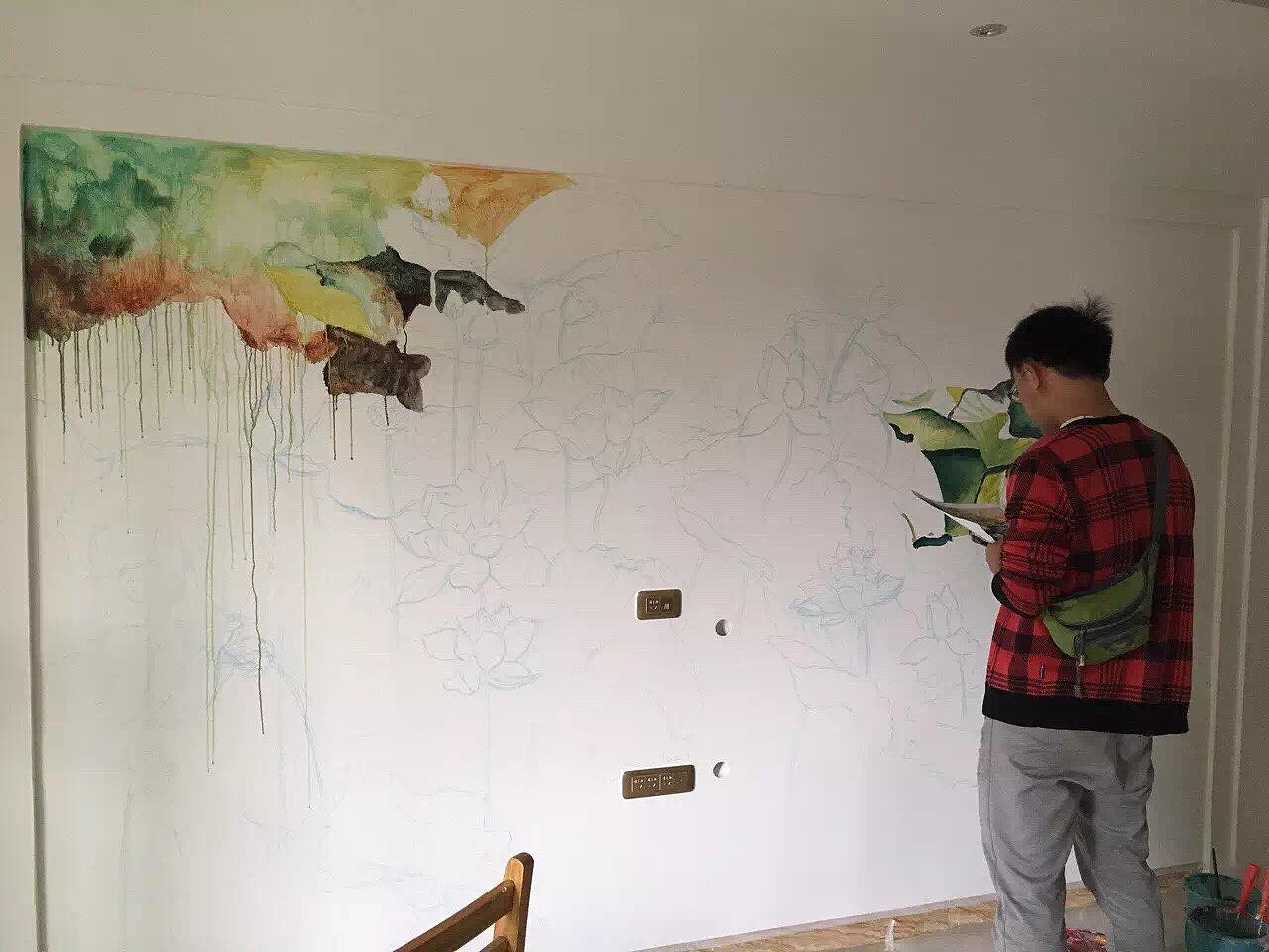 北京墙体彩绘现场手绘过程