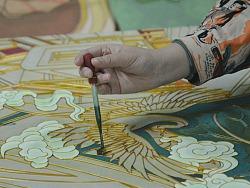 插画与传统工艺金丝沙画的结合与表现全过程记录