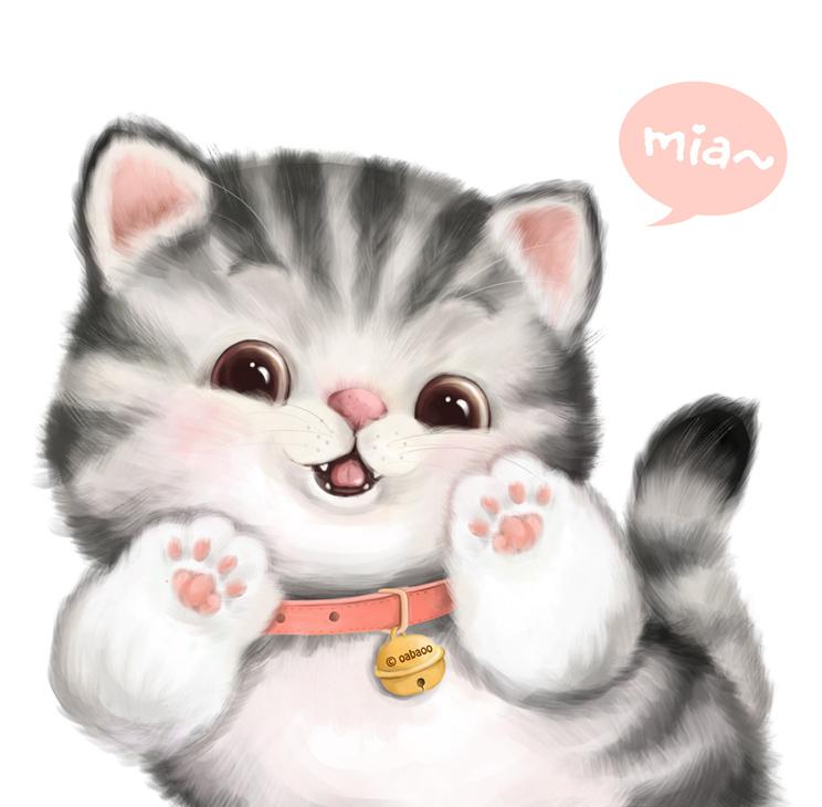萌猫简笔画-胖猫.