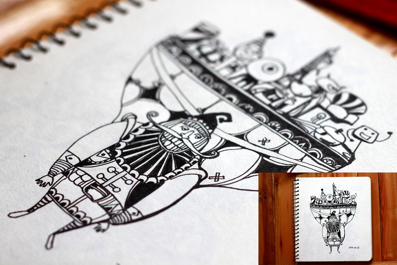 黑白手绘|插画|插画习作|elven_w - 原创作品 - 站酷