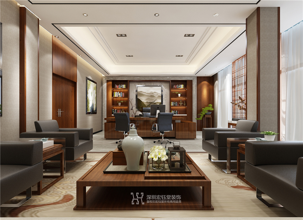 郑州新中式董事长办公室装修效果图|宏钰堂办公设计
