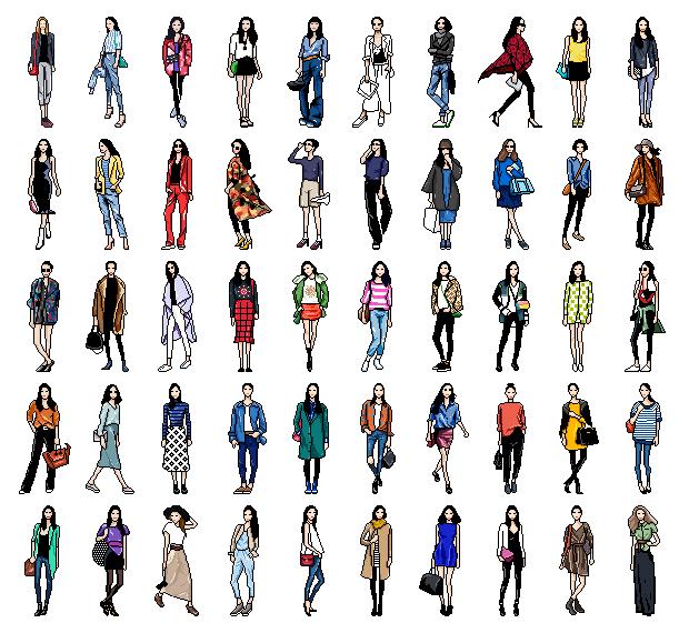 时尚人物像素画