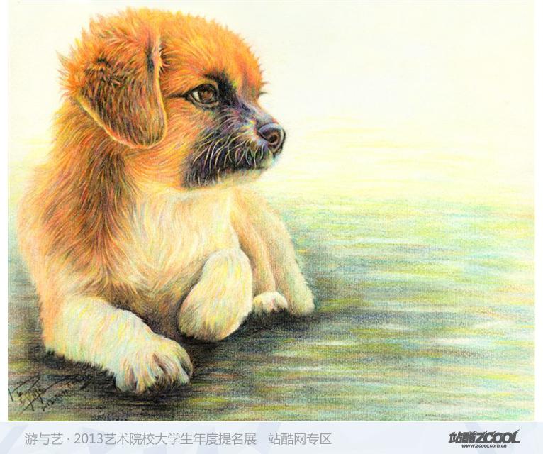 手绘彩铅动物画图片