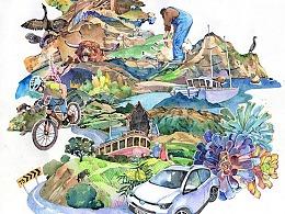 纽西兰南岛之旅的插画&速写