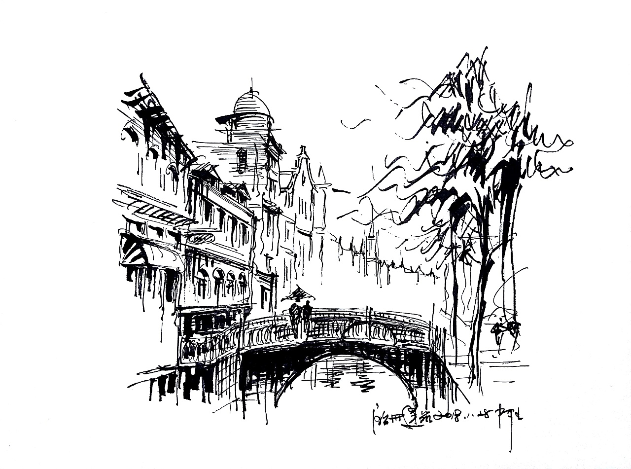 速写阿王建筑风景钢笔画