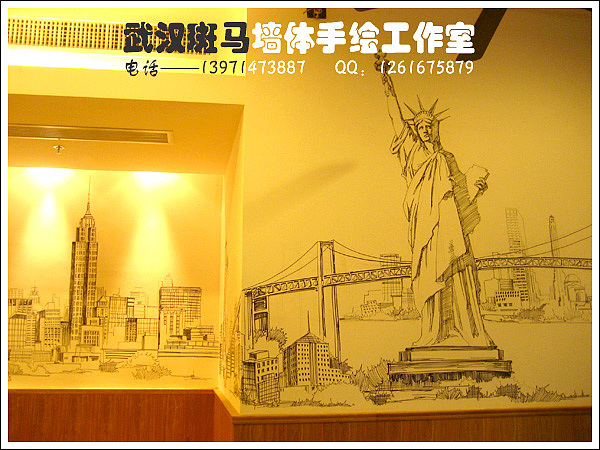 原创作品:单色手绘场景类室内设计手绘墙画,墙体手绘,墙绘作品之全景