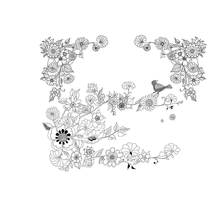 简单花儿风景手绘线稿