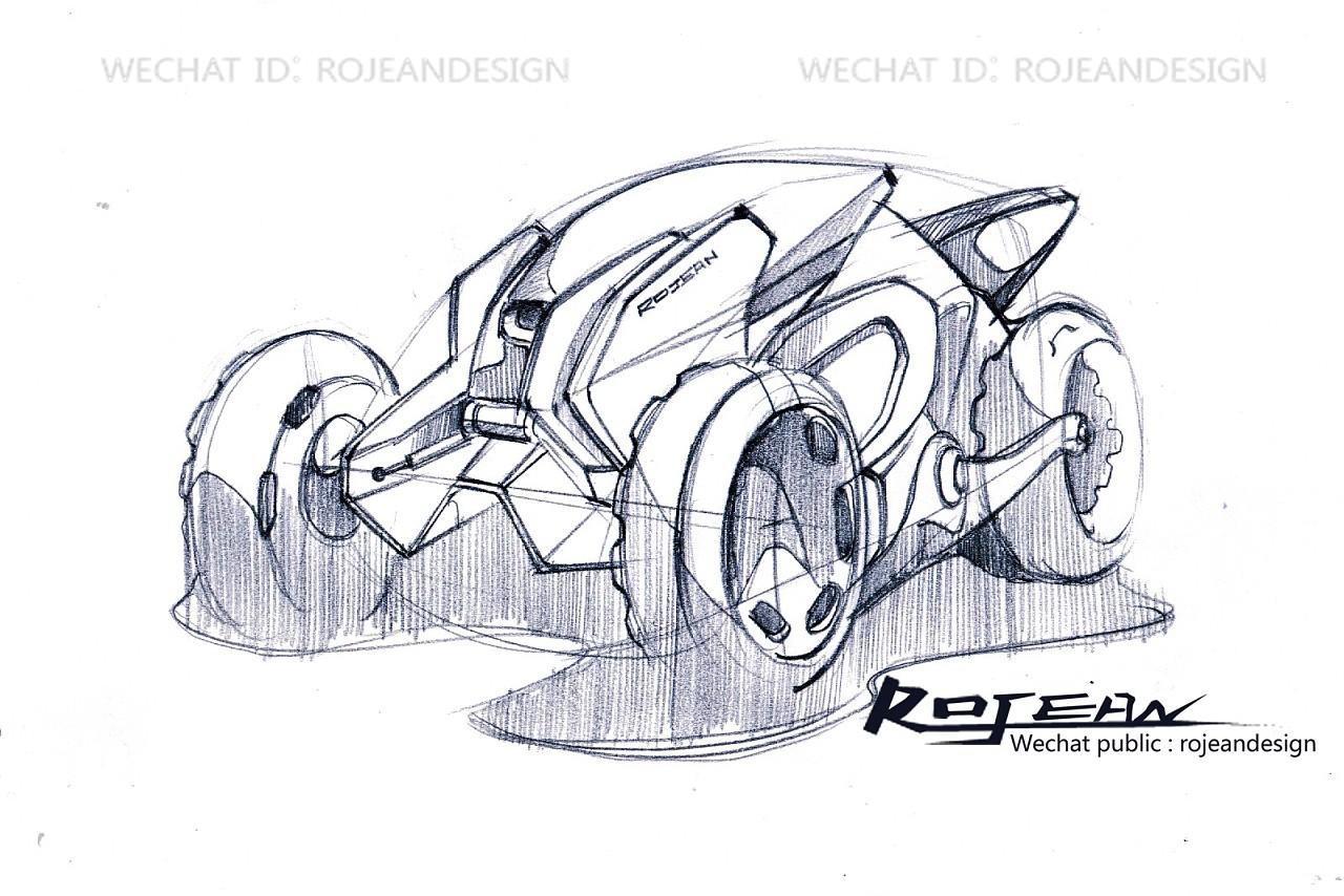 交通工具设计手绘过程-沙滩车