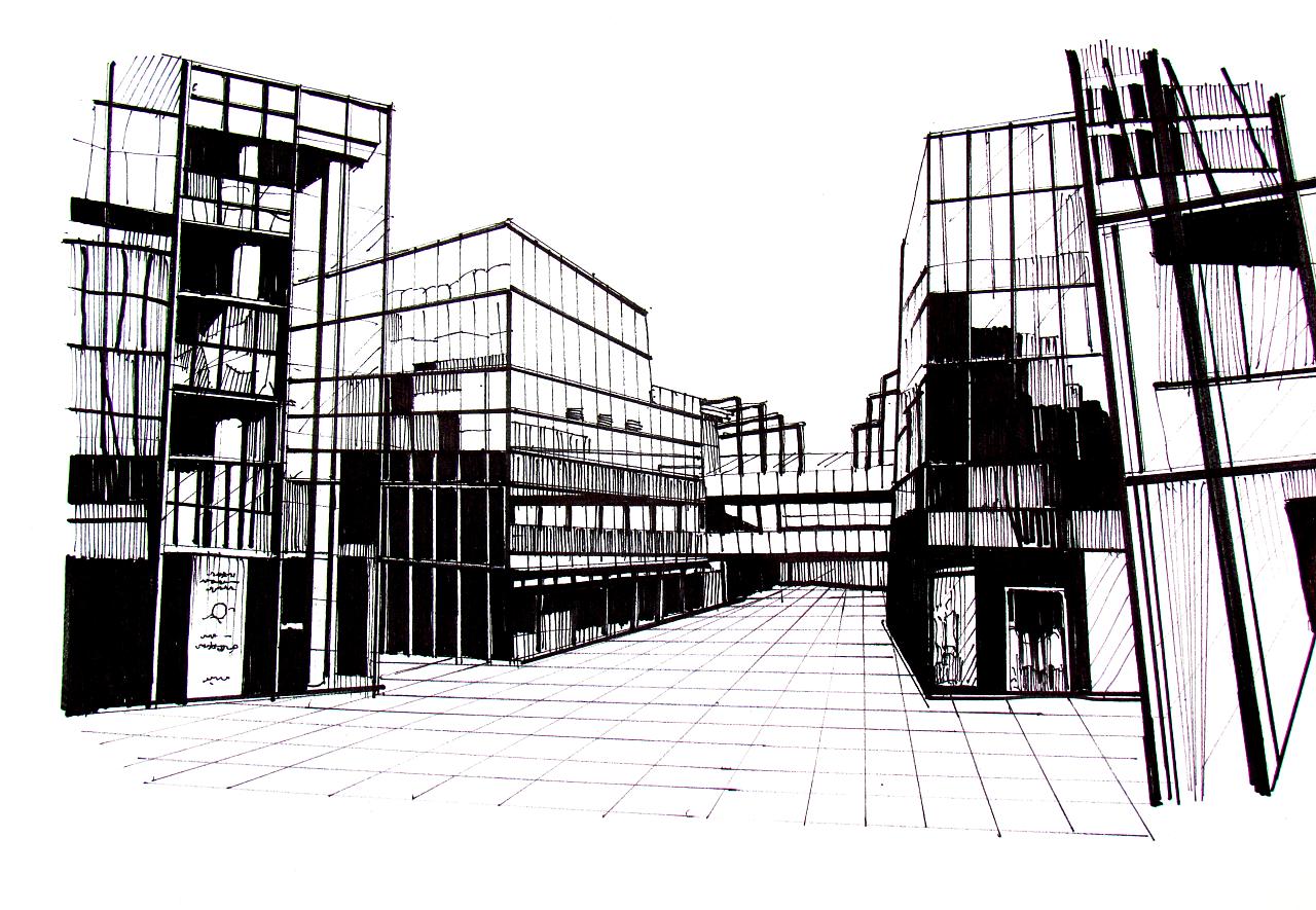 手绘效果图线稿|三维|建筑/空间|zhongyezhou - 原创