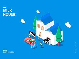 2.5D插画《MILK HOUSE》
