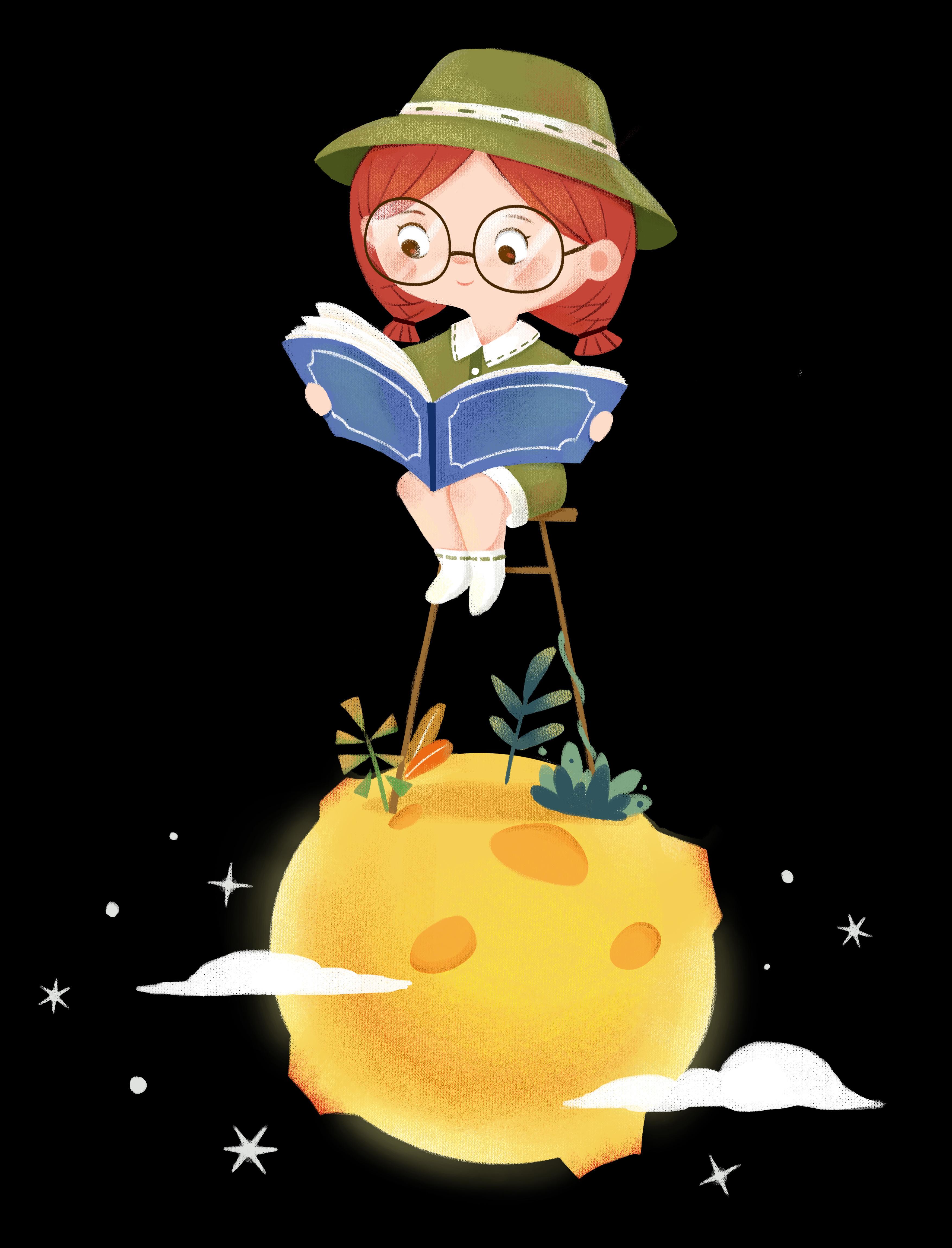 月球上看书的小女孩