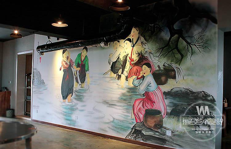 南京釜山火炉韩式烧烤店墙面绘制,烧烤店墙绘,餐饮墙绘图片