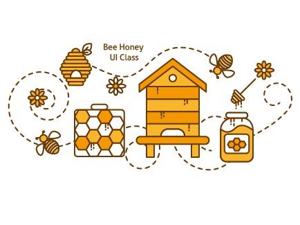 蜜蜂采蜜简笔插画图片