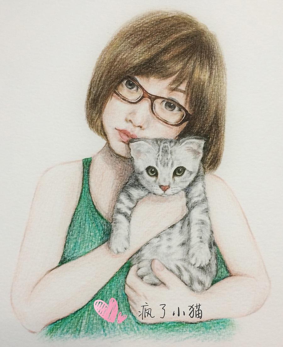 彩铅手绘 女人与猫|商业插画|插画|疯了小猫
