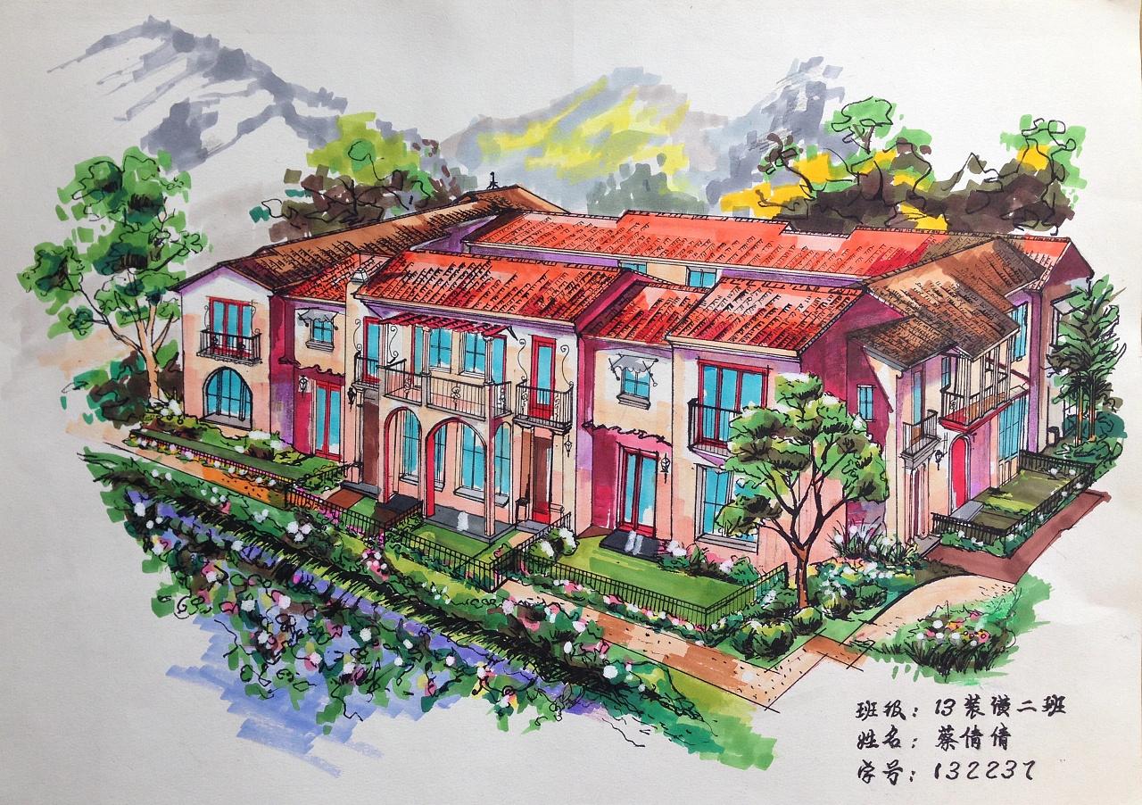 别墅手绘稿|空间|景观设计|anne倩倩 - 原创作品