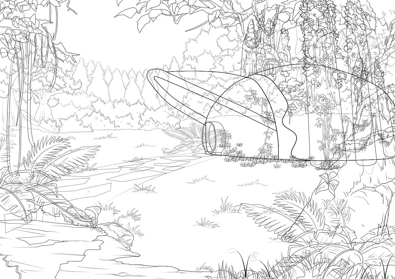 野外风景手绘线稿图片