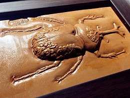 王嘉庆动物昆虫皮塑浮雕作品