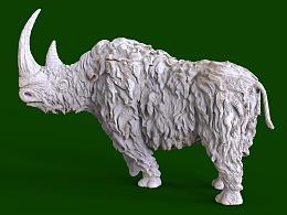 厚毛犀牛3D打印雕像