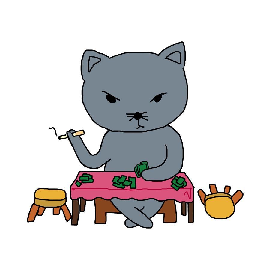 手绘小动物小猫小浣熊牛耕|涂鸦/潮流|插画|夏玥
