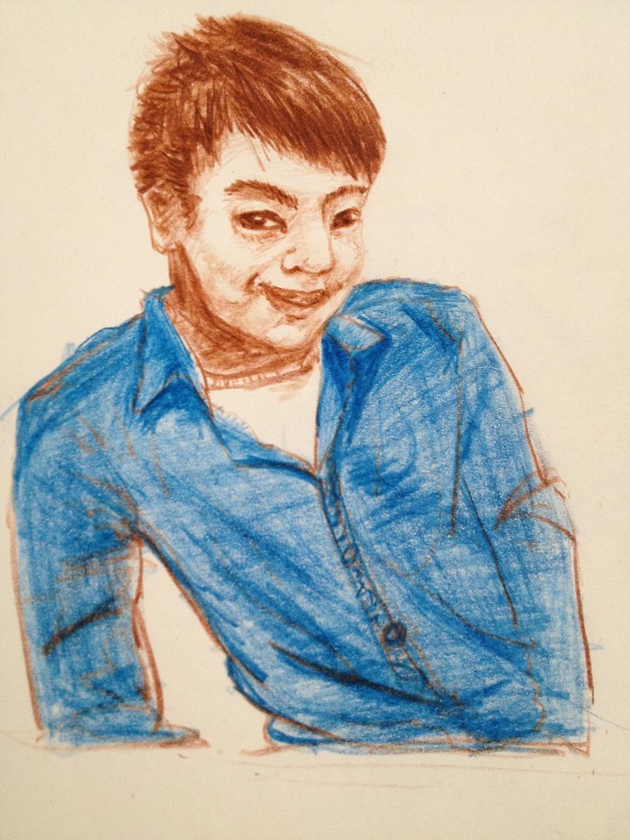 彩铅手绘男生画