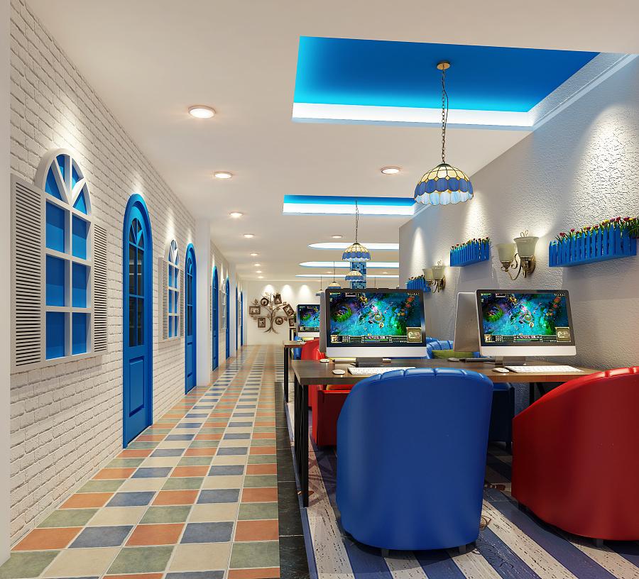 湖北武汉地中海网咖|室内设计|空间/显示|杰网装平面设计效果图怎么建筑图片
