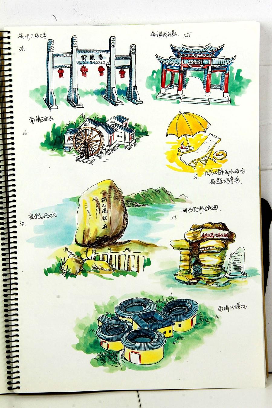 福建省内高铁旅游手绘地图创作绘制|水彩|纯艺