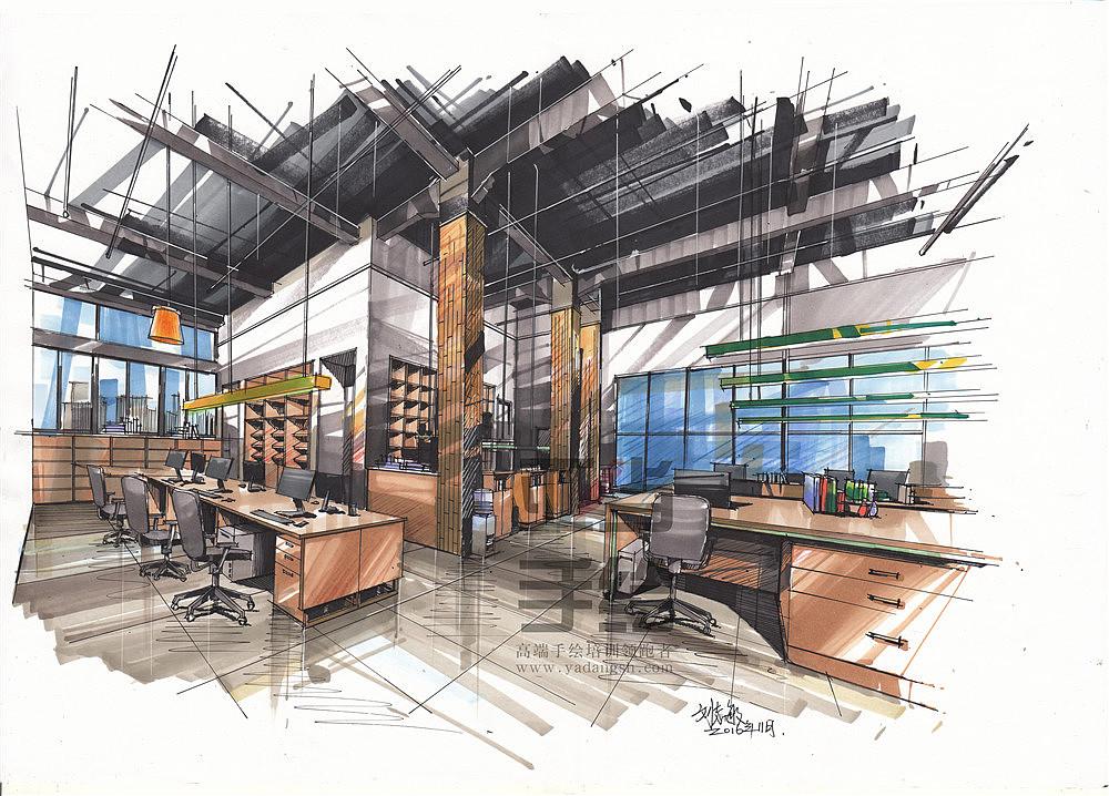 办公空间 马克笔表现|空间|室内设计|南昌亚当手绘