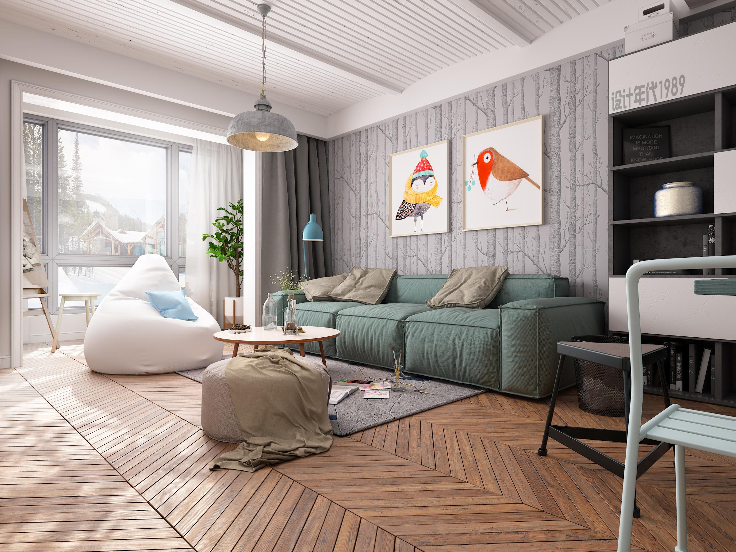 北欧风两居室模板美宅原创 空间 室内设计 v模板ppt阳光创意设计图片
