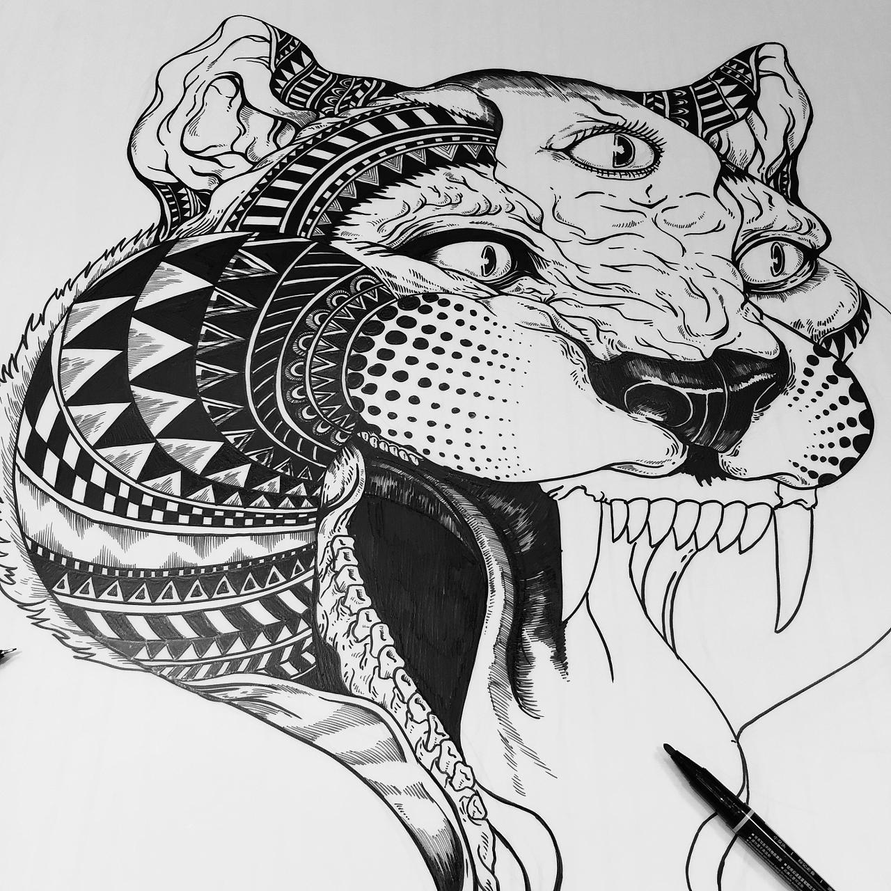 黑白线描装饰插画图片