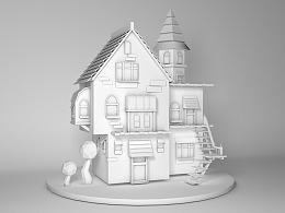白模渲染-小房子