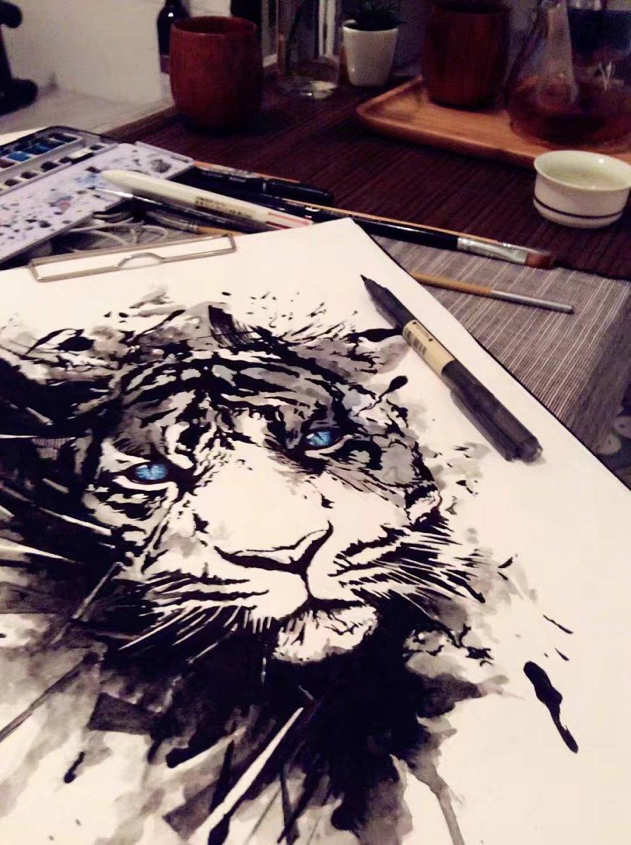 虎眼睛手绘