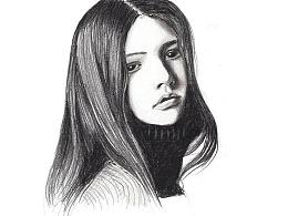 【驴大萌彩铅教程274】人物头像速写 黑白长发肖像