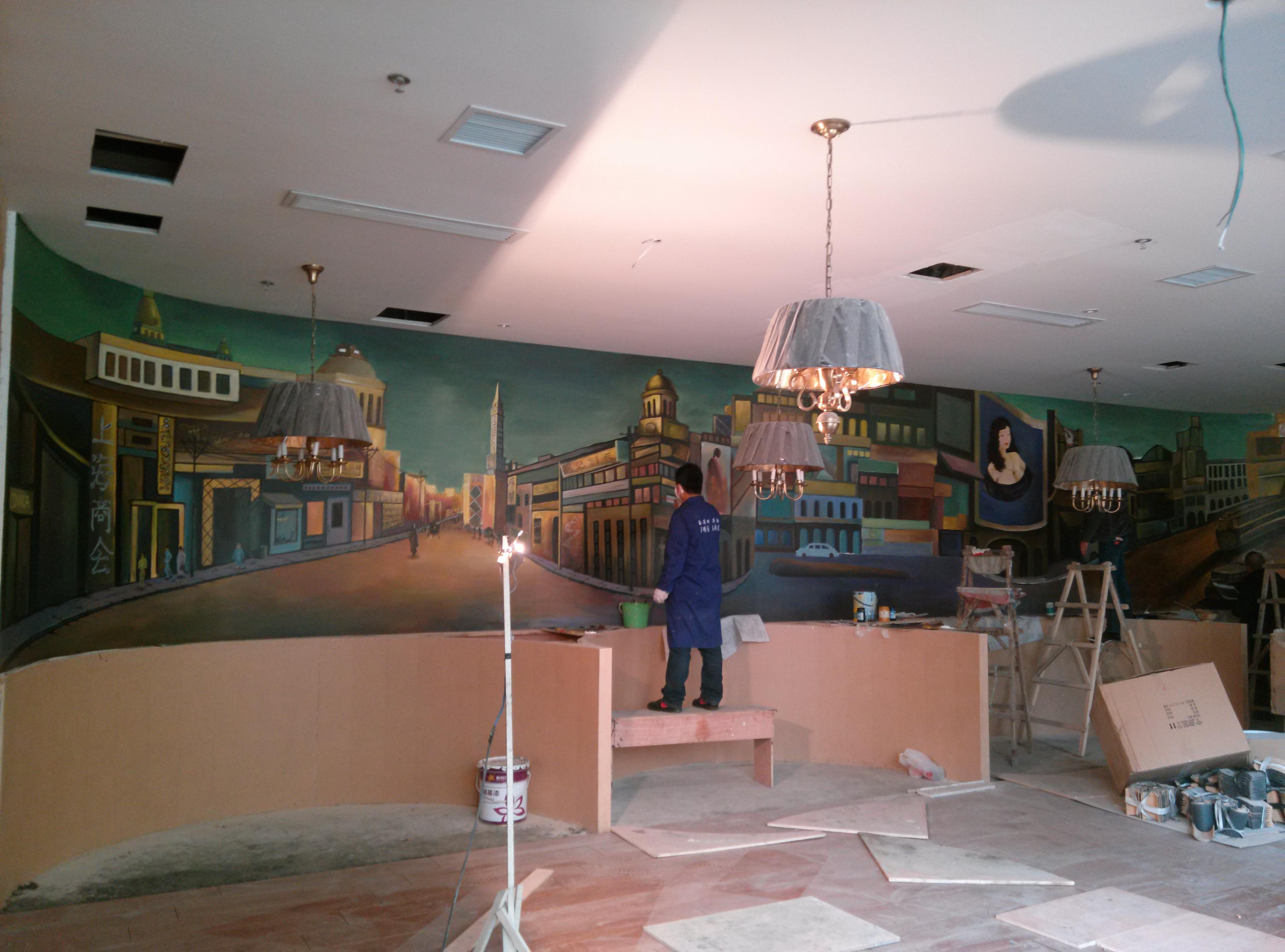 老上海复古风餐厅手绘墙