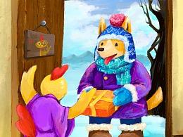 插画-新年交接-狗狗和小鸡的友谊